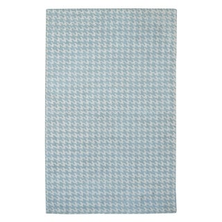 Hand-tufted Modern Marvel Houndstooth Cyan Blue Wool Rug (5' x 8')