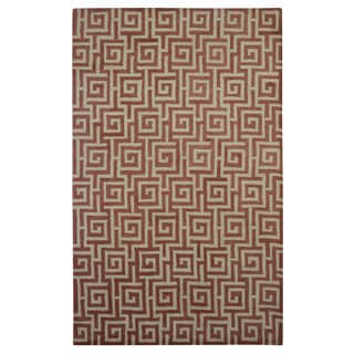 Hand-tufted Modern Marvel Greek Key Pantone Marsala Rust Wool Rug (5' x 8')
