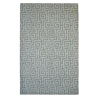 Hand-tufted Modern Marvel Greek Key Grey/ Ivory Wool Rug (5' x 8')