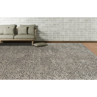 Hand-tufted Saint Thomas Steel Grey Blended New Zealand Wool and Art Silk Area Rug (5' x 8')
