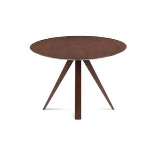 Saloom Nova 54 Round Maple Strata Texture Top Dining Table in Walnut Finish