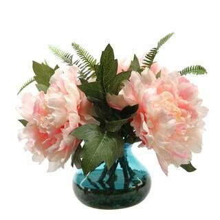 Pink Peonies in Vintage Blue Glass Vase