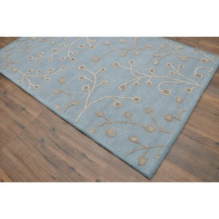 Hand-tufted Modern Marvel Hand-tufted Moroccan Erase Blue Wool Rug (5' x 8')