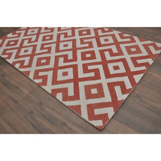 Hand-tufted Modern Marvel Devin Marsala Rust/ Orange Wool Rug (5' x 8')