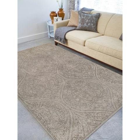 "Hand-tufted Saint Thomas Light Grey Blended New Zealand Wool and Art Silk Rug (7'6 x 9'6) - 7'6"" x 9'6"""