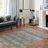 Hand-tufted Saint Thomas Steel Grey Blended New Zealand Wool and Art Silk Rug - 7'6 x 9'6