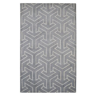 Hand-tufted Modern Marvel Arrows Grey Wool Rug (5' x 8')