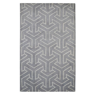 Hand-tufted Modern Marvel Arrows Beige Wool Rug (5' x 8')