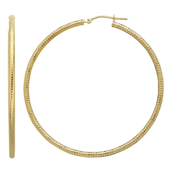 14k Yellow Gold Extra Large Diamond Cut Hoop Earring