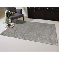 Hand-tufted Saint Thomas Steel Blue Blended New Zealand Wool and Art Silk Area Rug (7'6 x 9'6) - 7'6 x 9'6