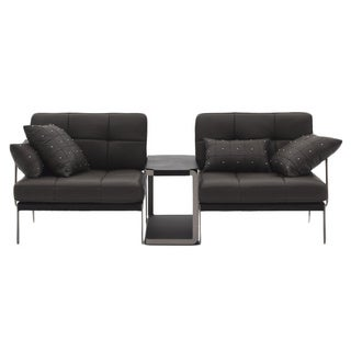 Catania Two-Piece Black Leather Sofa Set