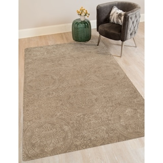 "Hand-tufted Saint Thomas Platinum Blended New Zealand Wool and Art Silk Rug (7'6 x 9'6) - 7'6"" x 9'6"""