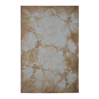 Hand-tufted Shibori Japanese Tie Dye Brown Wool Rug (4' x 6')
