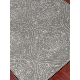 Hand-tufted Saint Thomas Steel Blue Blended New Zealand Wool and Art Silk Area Rug (2' x 3')