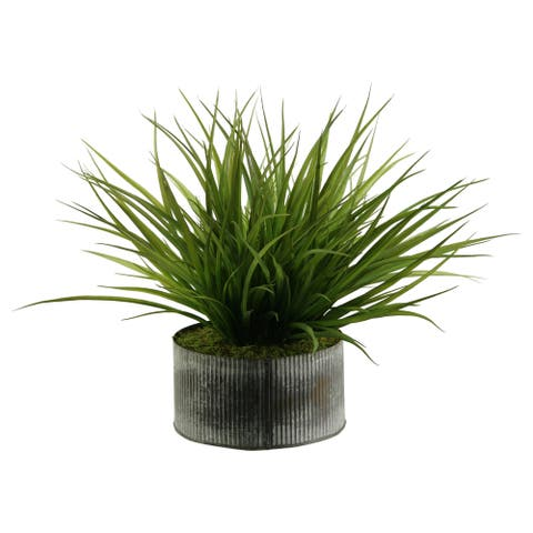 Wild Grass in Round Tin Planter