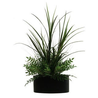 Tall Mango Grass and Locust Spray in Oval Metal Planter