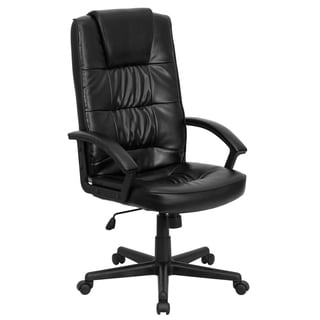 Adwick Black Leather Adjustable Executive Swivel Office Chair