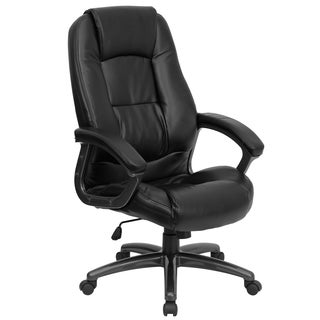 Neser Black Leather Executive Adjustable Swivel Office Chair