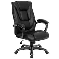 Mount Black Leather Executive Adjustable Swivel Office Chair with Padded Arms