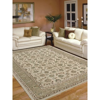 Hand-tufted Thaddeus Beige/ Brown New Zealand Wool and Art Silk Rug (3'6 x 5'6)