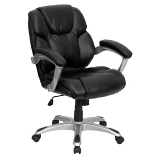 Wray Black Leather Swivel Adjustable Office Chair with Padded Arms