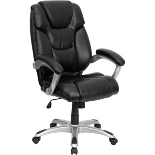Wray High Back Black Leather Executive Swivel Adjustable Office Chair with Padded Arms