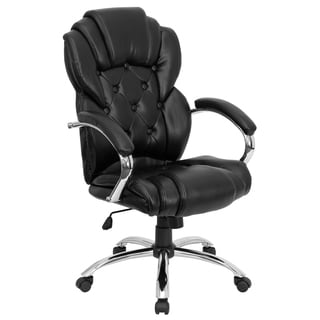 Adi Button Tufted Design Black Leather Executive Adjustable Swivel Office Chair with Cushion Headrest