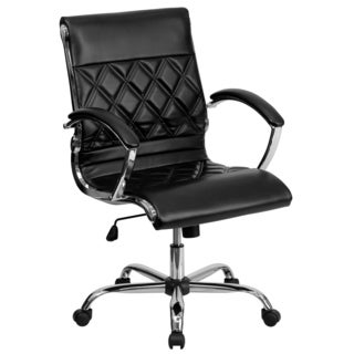 Designer Mid Back Diamond Patterned Black Leather Executive Adjustable Swivel Office Chair