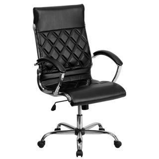 Designer High Back Diamond Patterned Black Leather Executive Adjustable Swivel Office Chair