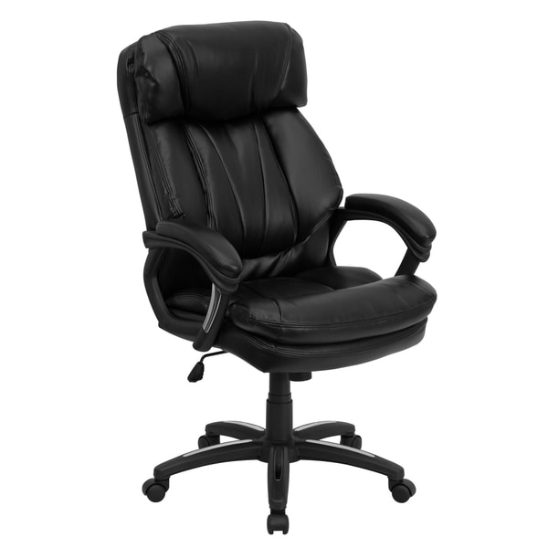 clint black leather executive adjustable swivel office chair free