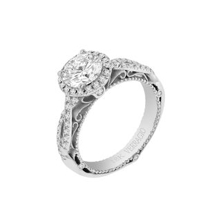 Verragio 18k White Gold Cubic Zirconia and 1/3ct TDW Diamond Semi Mount Halo Engagement Ring (F-G, VS1-VS2)