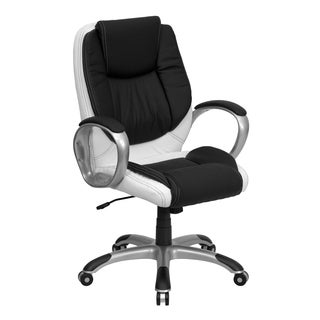 Black and White Leather Executive Adjustable Swivel Office Chair