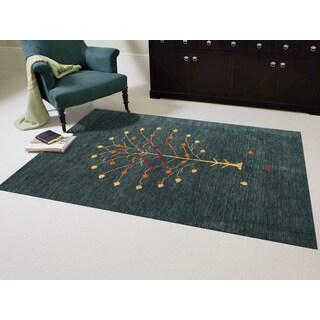 Hand-woven San Ramon Dark Green New Zealand Wool Area Rug (2' x 3')