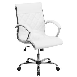 Designer Mid Back Diamond Patterned White Leather Executive Adjustable Swivel Office Chair