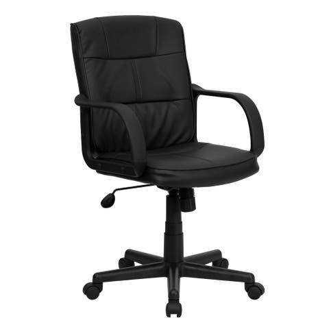 Alina Black Leather Adjustable Swivel Office Chair