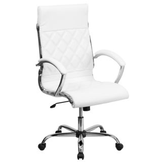 Designer High Back Diamond Patterned White Leather Executive Adjustable Swivel Office Chair