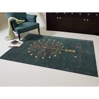 Hand-woven San Ramon Dark Green New Zealand Wool Solid Color Rug (9' x 12') - 9' x 12'