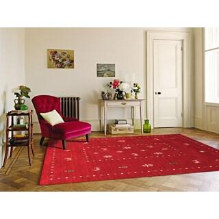 Hand-woven San Ramon Red New Zealand Wool Rug (8' x 10')