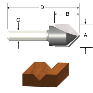 Vermont American 23119 0.5-inch V Groove Router Bit