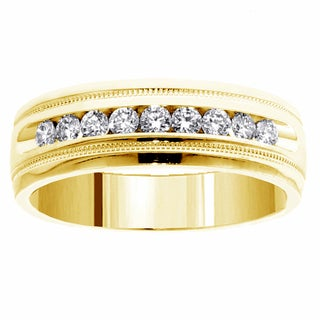 18l Yellow Gold Men's 1/2ct TDW Brilliant Cut Diamond Ring (G-H, SI1-SI2)