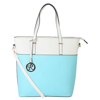 Rimen and Co. Two-Tone Saffiano Faux Leather Long Tote
