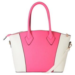Rimen and Co. Two-Tone Saffiano Faux Leather Short Tote