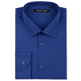 Luxton Men's Royal Blue Classic Fashion Fit Dress Shirt