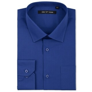 Verno Men's Royal Blue Cotton and Polyester Classic Fashion Fit Long-sleeve Dress Shirt