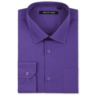 Verno Luxton Men's Lilac Classic Fashion Fit Dress Shirt