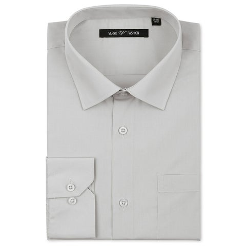 Verno Men's Classic Grey Cotton/Polyester Fashion Fit Dress Shirt