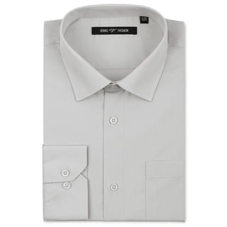 Verno Luxton Men's Grey Classic Fashion Fit Dress Shirt