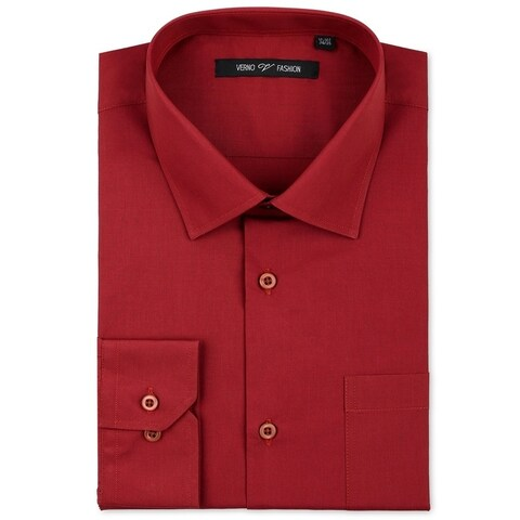Verno Men's Brick Red Classic Fashion Fit Dress Shirt