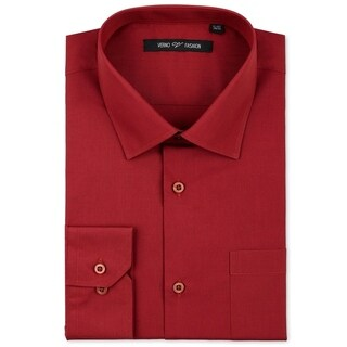 Verno Men's Brick Red Classic Fashion Fit Dress Shirt