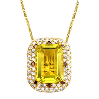 Beverly Hills Charm 14k Yellow Gold 1/10ct TDW Diamond and Lime Quartz Necklace (Brown, SI2-I1)